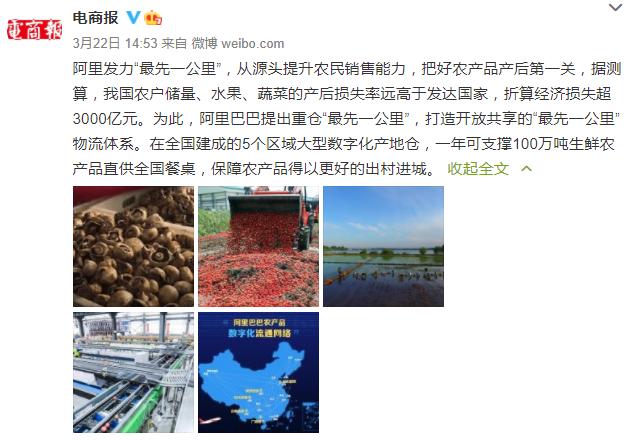 oe欧亿官方平台登陆阿里巴巴:2020年农产品销售额达到3037亿元