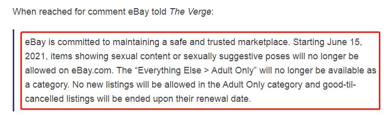 欧亿平台登录注册eBay将禁止出售大部分成人内容和物品